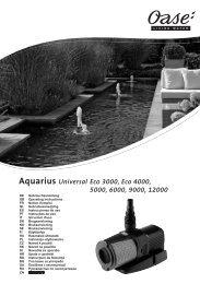 Aquarius Universal Eco 3000, Eco 4000, 5000, 6000, 9000, 12000
