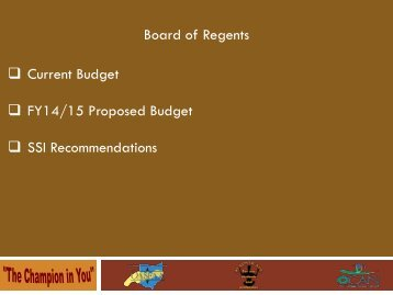Board of Regents Current Budget FY14/15 Proposed ... - oasfaa