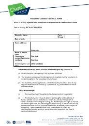 PARENTAL CONSENT / MEDICAL FORM Name of Activity: Ingestre ...