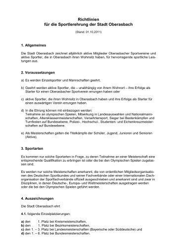 Richtlinien für die Sportlerehrung der Stadt Oberasbach