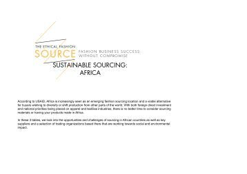 SUSTAINABLE SOURCING: AFRICA