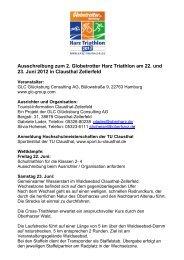 Ausschreibung zum 2. Globetrotter Harz Triathlon ... - Der Oberharz