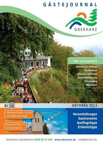 Gästejournal Oktober - Der Oberharz
