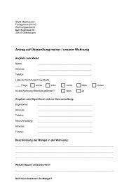 Antrag auf Überprüfung meiner / unserer Wohnung - in Oberhausen