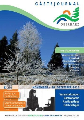 Gästejournal November/Dezember - Der Oberharz