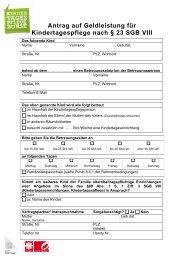 Antrag auf Geldleistung für Kindertagespflege ... - Stadt Oberhausen