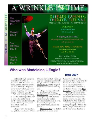 Study guide for A Wrinkle in Time - Oberlin College