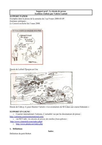 Le dessin de presse Synthèse réalisée par Valérie Lantuit ...