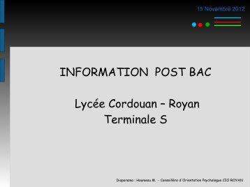 Diaporama de présentation des filières post-Bac pour les élèves de TS