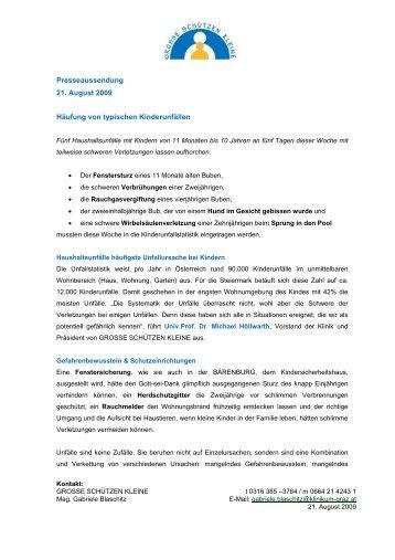 Presseaussendung 21. August 2009 Häufung von typischen ...