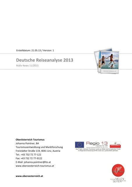 Deutsche Reiseanalyse 2013 - Oberösterreich Tourismus