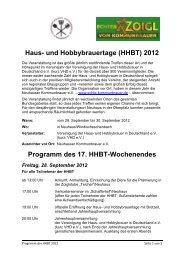 Haus- und Hobbybrauertage (HHBT) 2012 ... - Oberpfälzer Wald