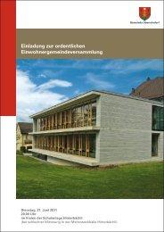 Traktandenbericht vom 21. Juni 2011 - Gemeinde Oberrohrdorf