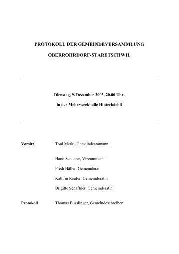Protokoll vom 9. Dezember 2003 - Gemeinde Oberrohrdorf