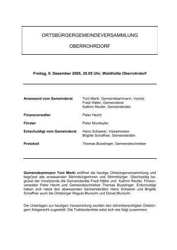 Protokoll vom 9. Dezember 2005 - Gemeinde Oberrohrdorf