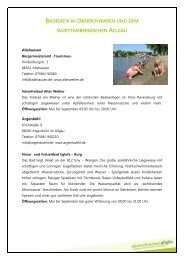 Seen&Bäder in Oberschwaben und würrtembergischen Allgäu