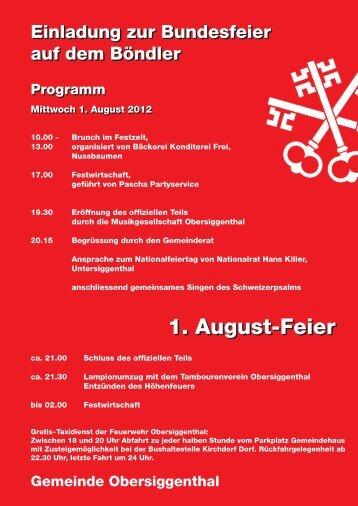 1. August-Feier 1. August-Feier - Gemeinde Obersiggenthal