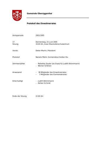 Protokoll des Einwohnerrates - Gemeinde Obersiggenthal