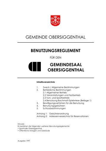 gemeindesaal obersiggenthal - Gemeinde Obersiggenthal