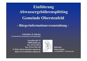 Vortrag der Informationsveranstaltung - Gemeinde Oberstenfeld