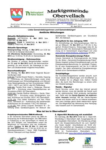 Amtliche Mitteilungen Was ist los in Obervellach? - Gemeinde ...