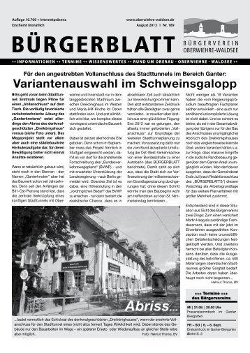 Ausgabe 189 - August 2013 (pdf, 5,9 MB) - Oberwiehre-Waldsee