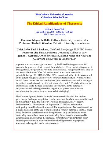 The Ethical Ramifications of Therasense - Oblon Spivak McClelland ...