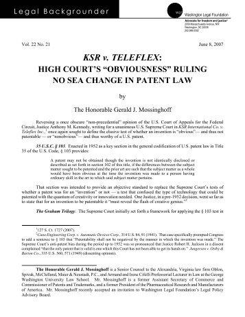 KSR v. TELEFLEX: - Oblon Spivak McClelland Maier and Neustadt ...