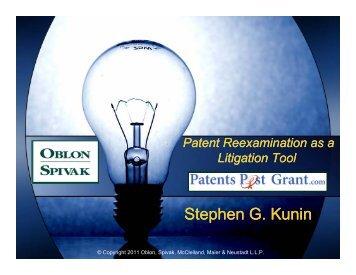 Stephen G. Kunin Stephen G. Kunin - Oblon Spivak McClelland ...