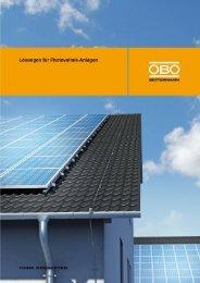 Lösungen für Photovoltaik-Anlagen - OBO Bettermann