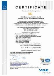 Certificate DIN EN ISO 9001:2000 - English - OBO Bettermann