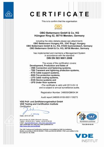 Certificate DIN EN ISO 9001:2000 - English - OBO Bettermann