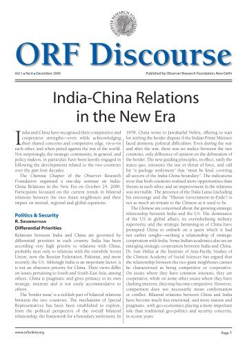 India-China Relations in the New Era - Observer Research Foundation