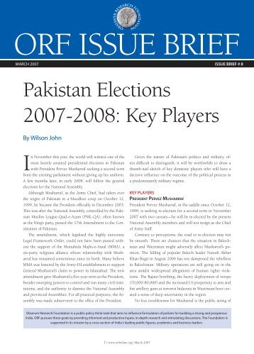 Pakistan Elections 2007-2008: Key Players - Observer Research ...
