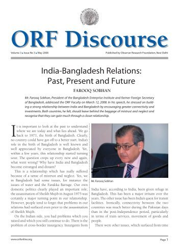 India-Bangladesh Relations: Past, Present and Future - Observer ...