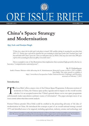 China's Space Strategy and Modernisation - Observer Research ...