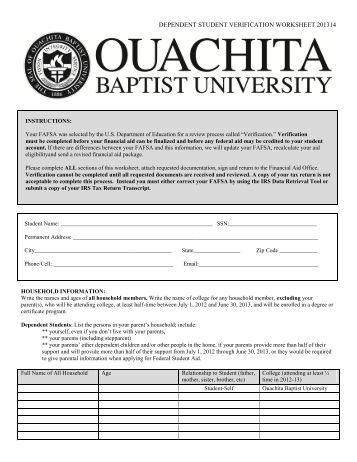 Worksheets Verification Worksheet Dependent Student dependent student verification worksheet 201314 ouachita baptist