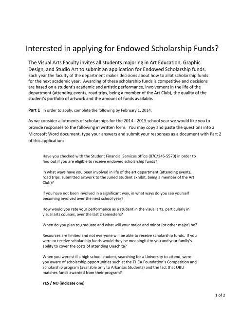 Interested in applying for Endowed Scholarship Funds