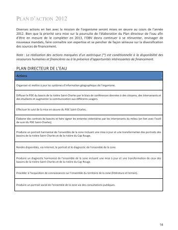 Plan d'action 2012 - Organisme des bassins versants de la Capitale ...