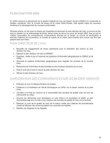 Plan d'action 2009 - Organisme des bassins versants de la Capitale ...