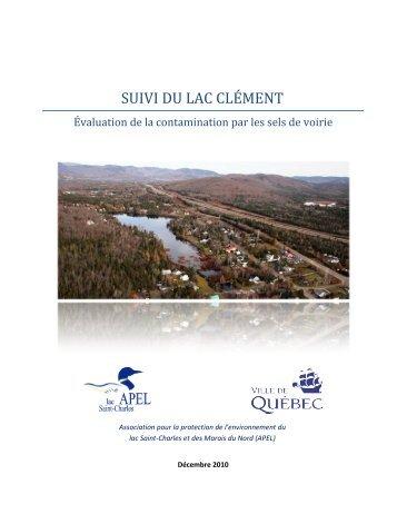 Suivi du lac Clément - Organisme des bassins versants de la ...