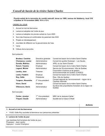 Conseil de bassin de la rivière Saint-Charles - Organisme des ...
