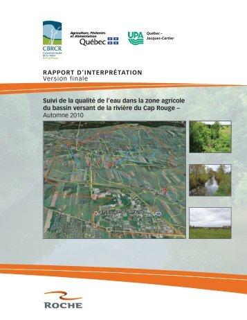 Suivi de la qualité de l'eau de la rivière du Cap Rouge dans la zone