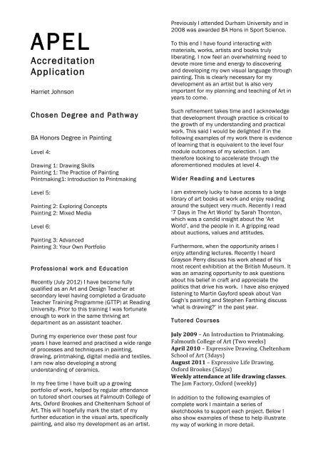 Accreditation Application - Open College of the Arts