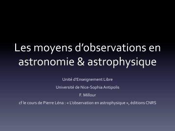 Les moyens d'observations en astronomie & astrophysique