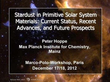 Stardust in Primitive Solar System Materials: Current Status, Recent ...