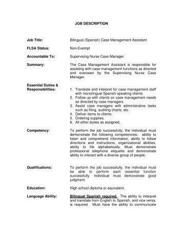Bilingual (Spanish) Case Management Assistant FLSA Status