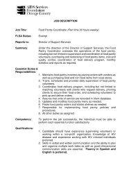 JOB DESCRIPTION Job Title: Food Pantry Coordinator (Part time 30 ...