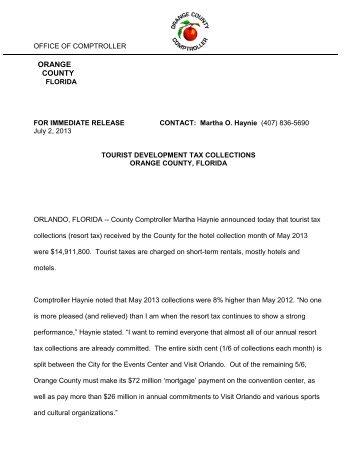 TDT Press Release July 2, 2013 - Orange County Comptroller