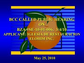Public Hearing Board of Zoning Adjustment Board Called Iglesia De ...